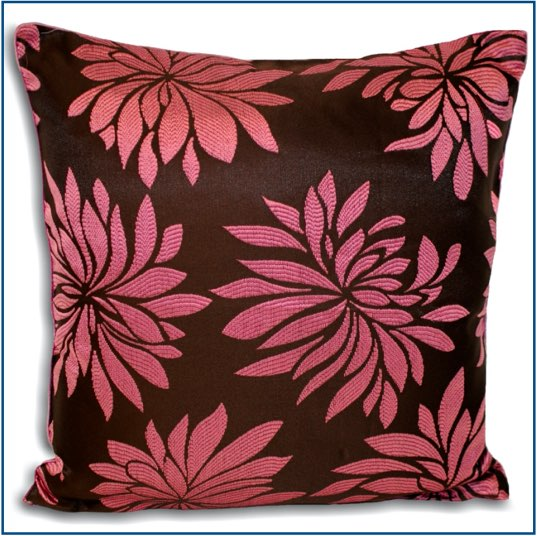 Brown cushion cover with pink dahlia flower design