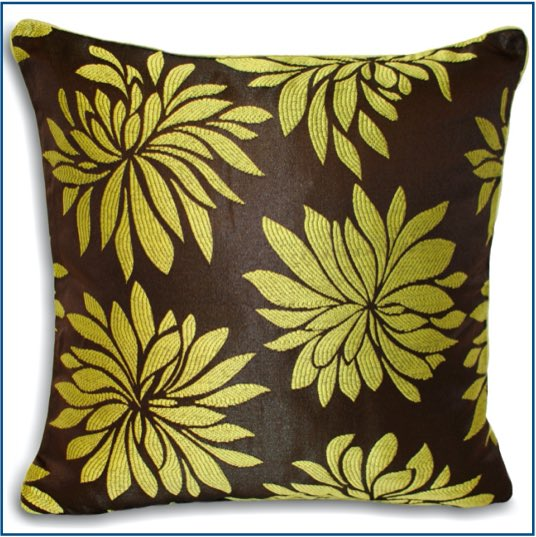 Brown cushion cover with green dahlia flowers