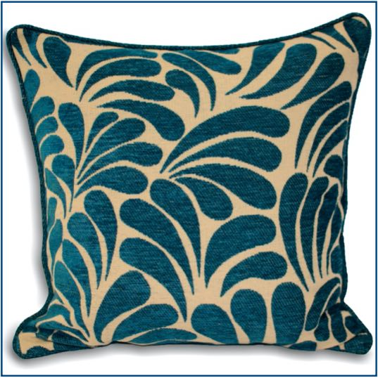 Beige cushion cover with teal pattern