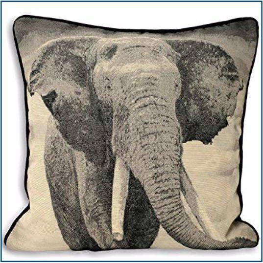 Black and grey elephant cushion cover
