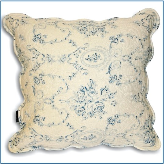 White cushion cover with delicate blue floral design, scalloped edge and stitching.