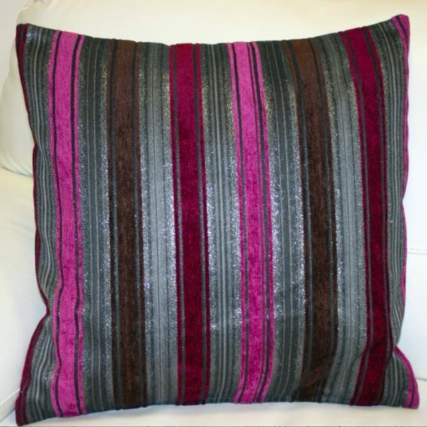 Textured, grey, brown, pink and purple striped cushion cover