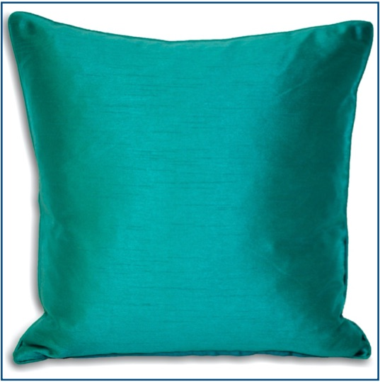 Plain teal cushion cover