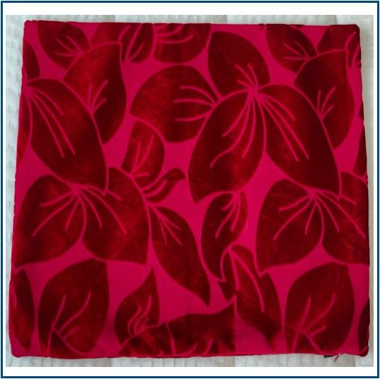 Burgundy cushion cover with velvet leaf design
