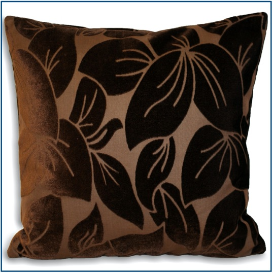 Chocolate brown cushion cover with velvet leaf design