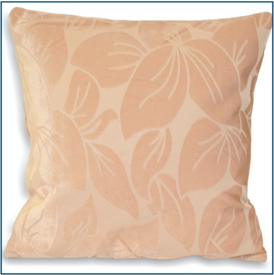 Magnolia cushion cover with velvet leaf design