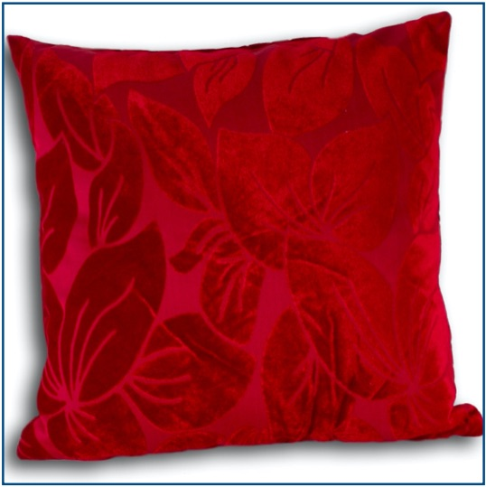 Red cushion cover with velvet leaf design
