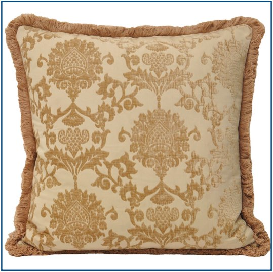 Beige cushion cover with luxurious design and fringe edge