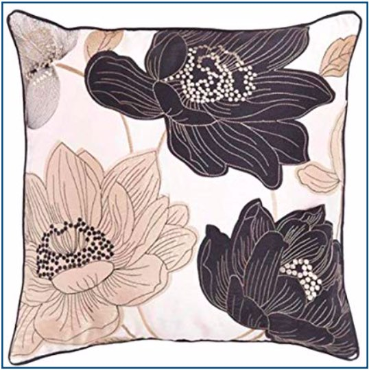 Floral design cushion cover in black and gold