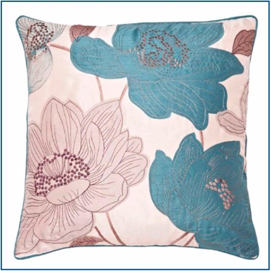 Cream cushion cover with teal and cream large flower design