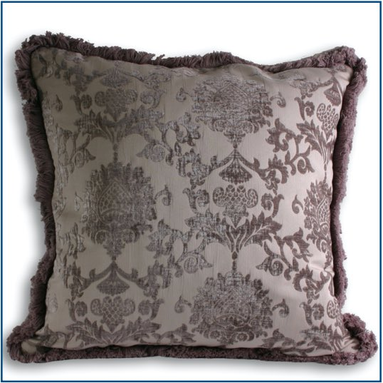 Soft, silver cushion cover with elegant design and fringe edge