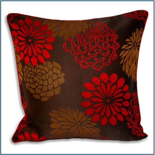 Chocolate brown cushion cover with light brown and red hibiscus flowers