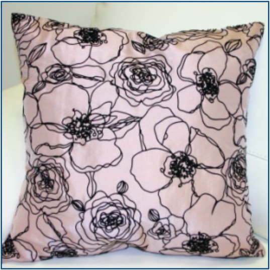 Pale heather toned taupe cushion cover with black piped floral design
