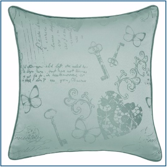 Duck egg blue cushion cover with butterfly, heart and key design