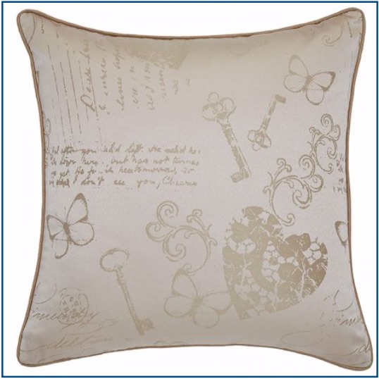 Neutral coloured cushion cover with butterflies, hearts and key design