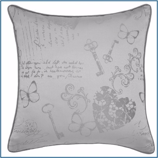 Silver grey cushion cover with butterfly, heart and key design