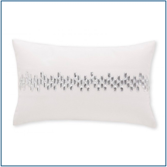 White rectangle cushion cover with row of rhinestones