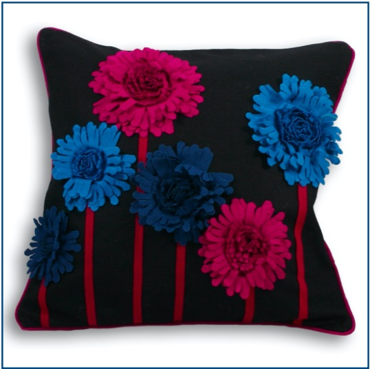 Black felt cushion cover with blue and pink flowers