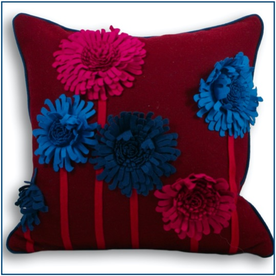 Damson felt cushion cover with blue and pink flowers