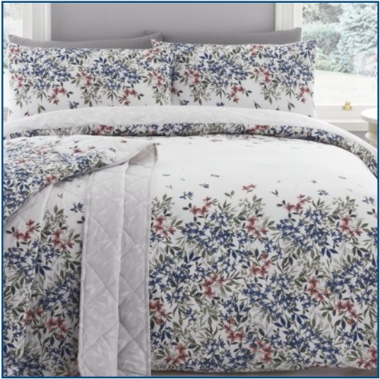 White duvet set with delicate grey, blue and red flowers