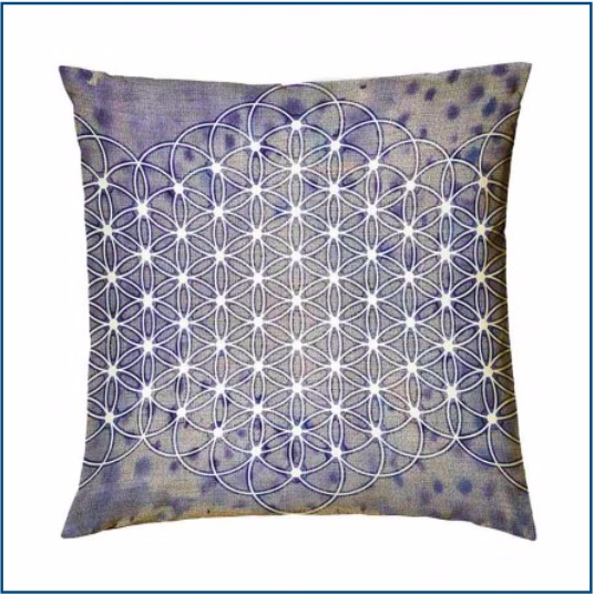 Blue & grey cushion cover with mandala design