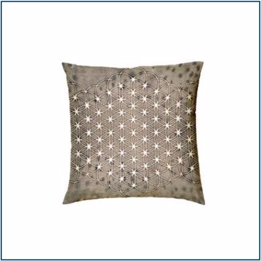 Grey cushion cover with mandala design