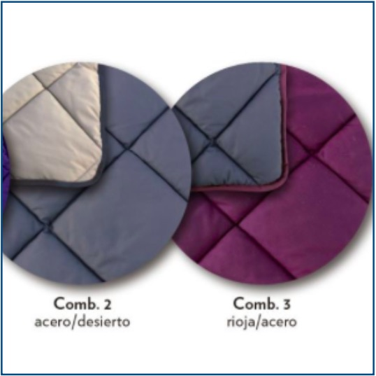 Quilted, grey or damson reversible bedspread