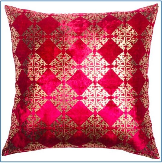 Hot pink velvet cushion cover with diamond gold foil design