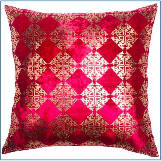 Hot pink velvet cushion cover with diamond gold foil design