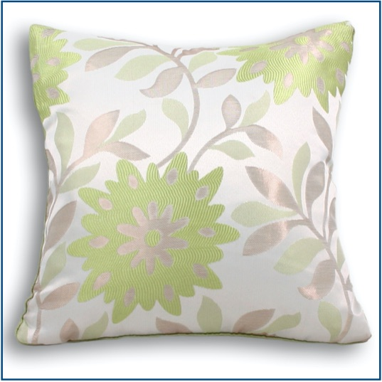 Green and beige floral design cushion cover