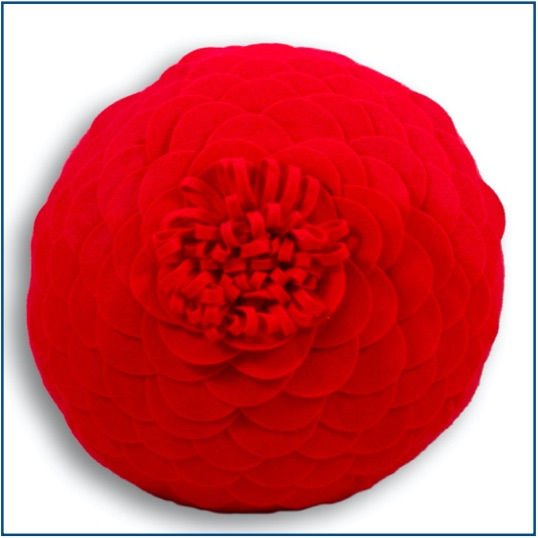 Round red poppy inspired textured cushion cover