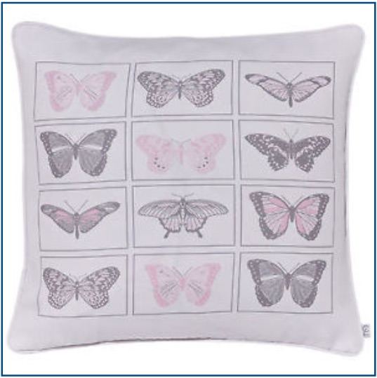 White cushion cover with pink and grey butterfly design