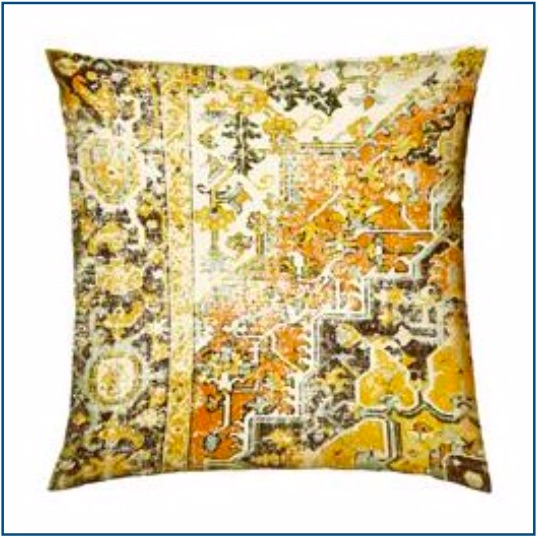 Persian inspired gold, mustard and brown cushion cover