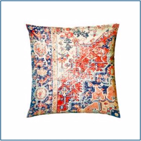 Persian inspired blue and terracotta cushion cover