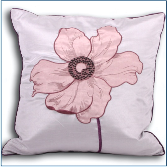 Silver cushion cover with poppy design in heather