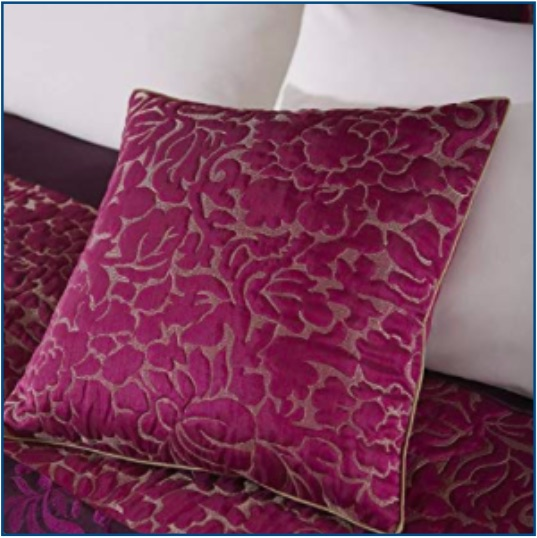 Quilted pink purple cushion cover with gold detailing