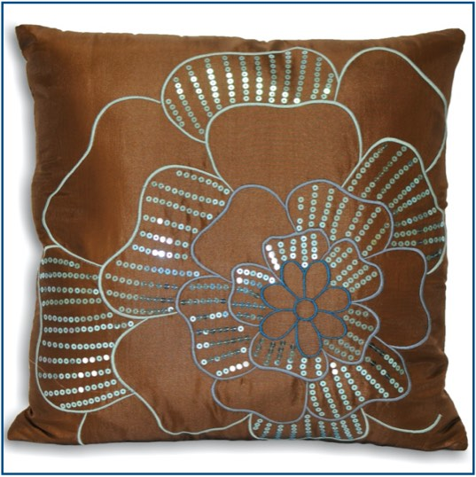 Quilted brown cushion cover with blue flower design and sequins