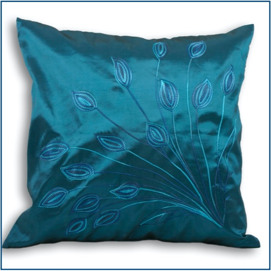 Silky teal cushion cover with spray floral design