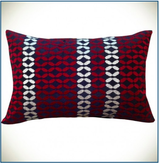 Navy, red and white modern cushion cover