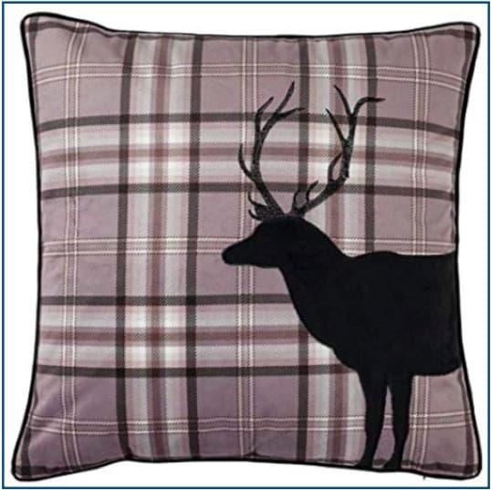 Tartan Stag Charcoal Cushion Cover