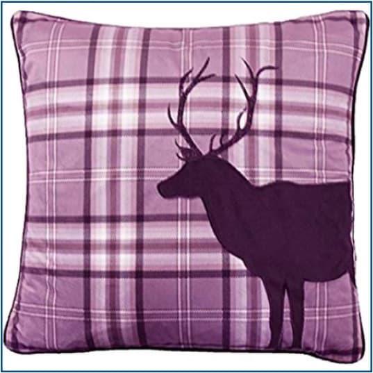 Tartan Stag Purple Cushion Cover