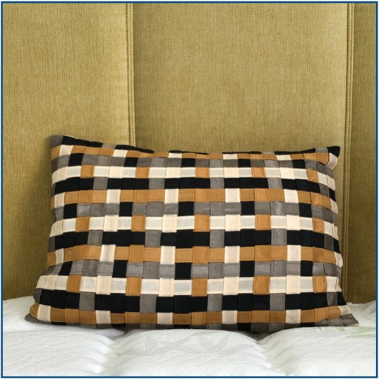 Black, gold, silver and beige interwoven striped cushion cover