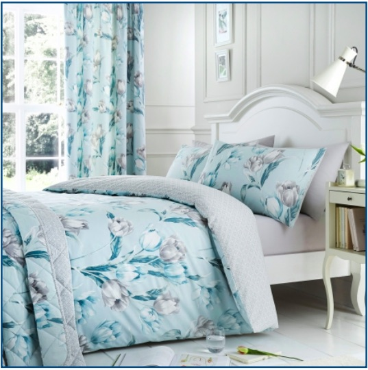 Tulip design duvet set in grey and duck egg blue