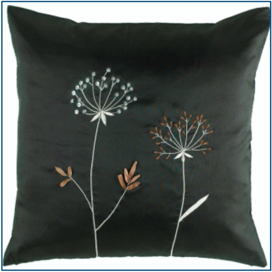 Black cushion cover with sequinned silver flower and stitched brown flower design