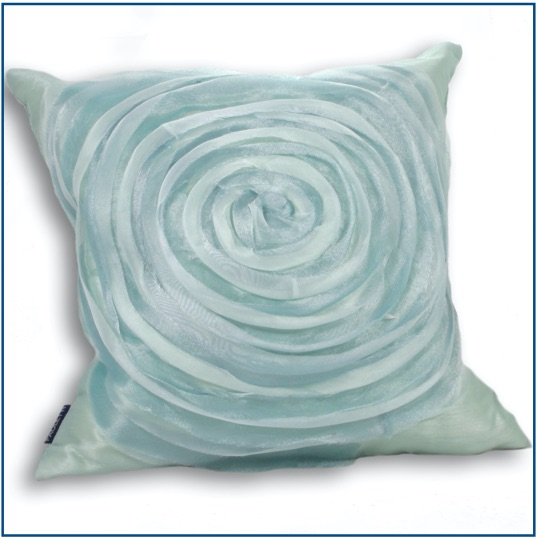 Duck egg blue cushion cover with swirl design