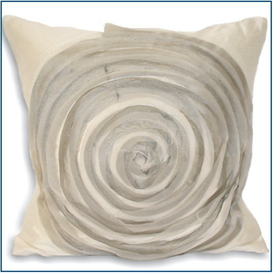 White cushion cover with grey swirl design