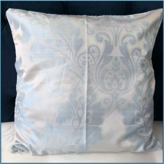 Silver cushion cover with duck egg blue classic pattern
