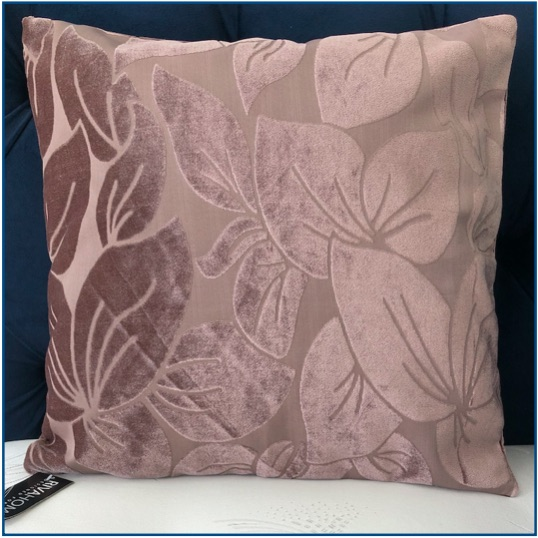 Taupe cushion cover with velvet leaf design
