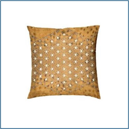 Mustard cushion cover with mandala design