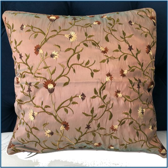 Taupe cushion cover with brown and olive floral design